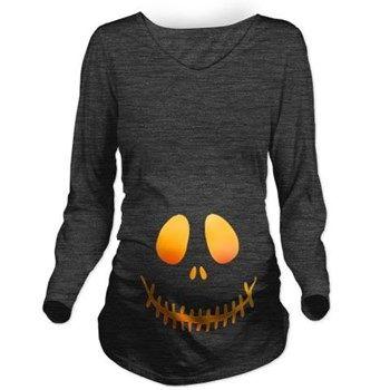 Orange Pumpkin Face Long Sleeve Maternity T-Shirt