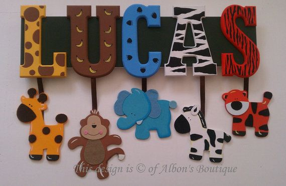 6 carta nombre Custom selva Zoo Safari Themed por AlbonsBoutique Más