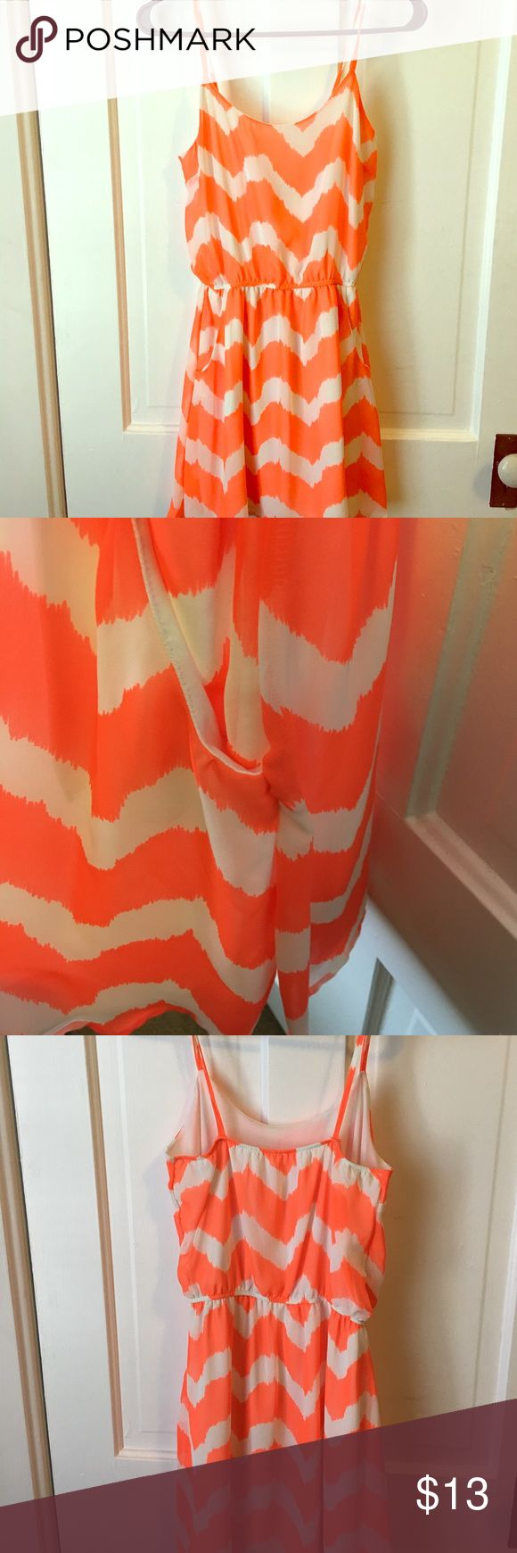 Chevron print dress from Francesca's closet. Miami brand dress from Francesca's Closet.  Worn maybe twice. Vibrant orange color and white.  Great color for spring/summer! miami Dresses