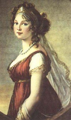 Grecian influence so prevalent during the Regency period (particularly from 1800-1818). Note the trim on the sleeves and the gold band in the lady's hair.