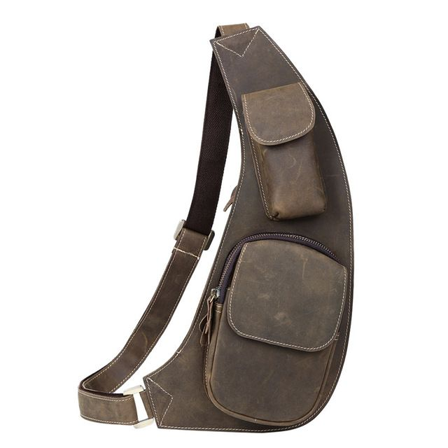 TIDING Men Sling Day Pack Messenger Cross body bag Cowhide Genuine Leather Chest Cycling bag 3011