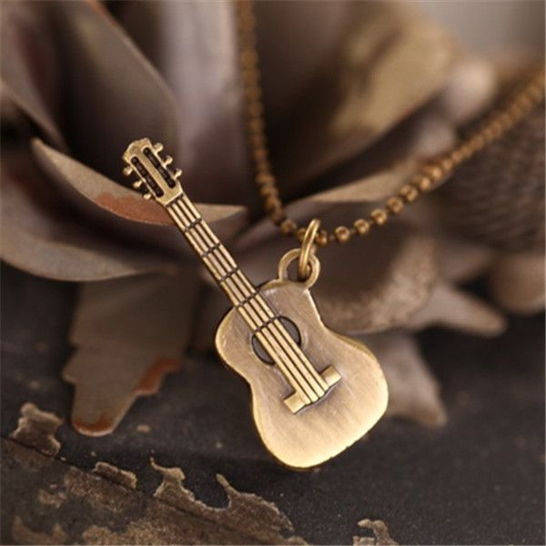 2016 punk jewelry statement necklaces & pendants,alloy long rope collier collares guitar pendant necklace men colar gargantilha