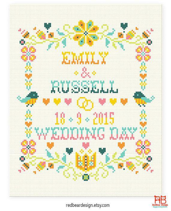 Wedding cross stitch pattern Happy Floral by redbeardesign