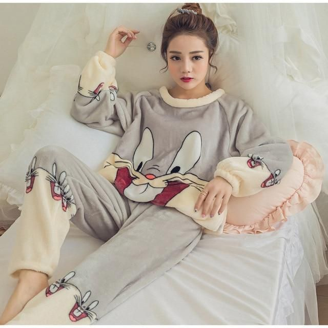 Ladies Casual Pajamas Set Winter Warm Fluffy Nightwear Long Sleeve Tops Pants