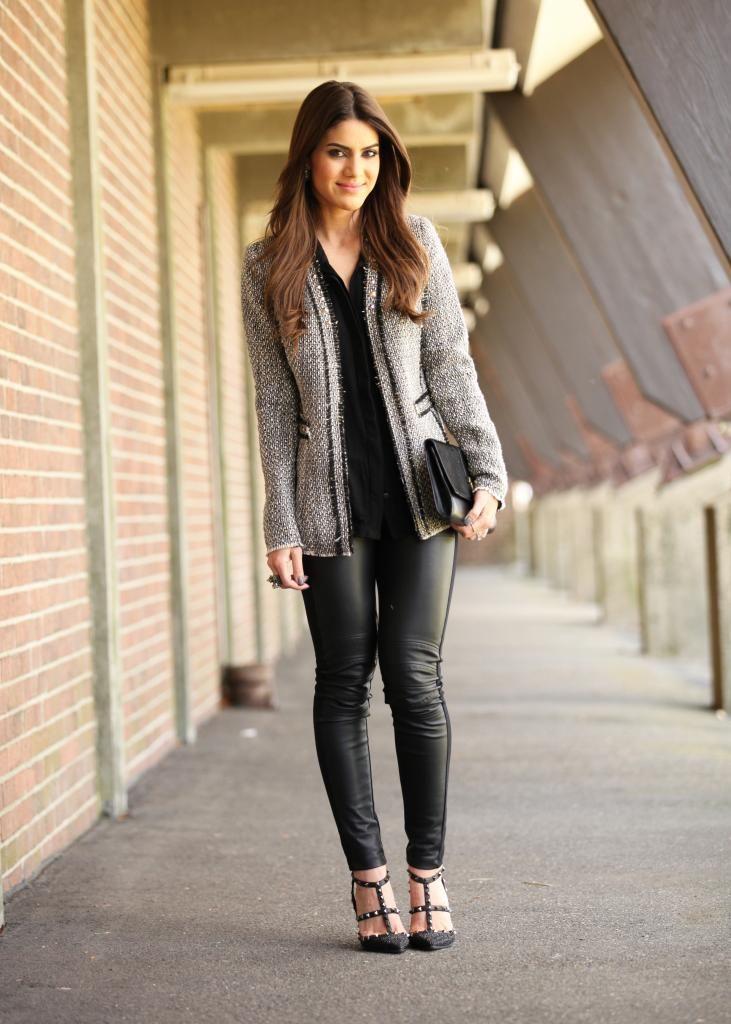blazer de tweed e legging de couro || www.supervaidosa.com