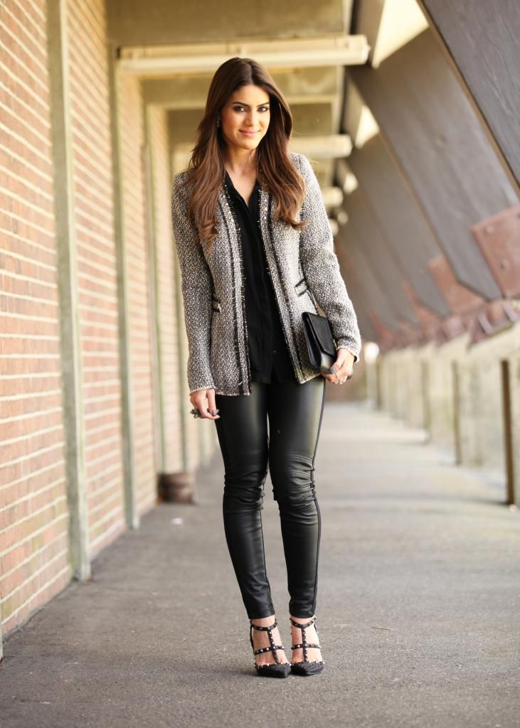 blazer de tweed e legging de couro || www.supervaidosa.com