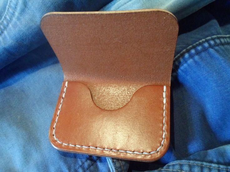 Leather card holder. Handmade, hand stitched. by SleepingDogsLeather on Etsy