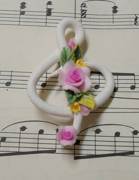 White Music Clef Rose Broach  Gift Box with Lace Bow by JKClayArts, $12.00