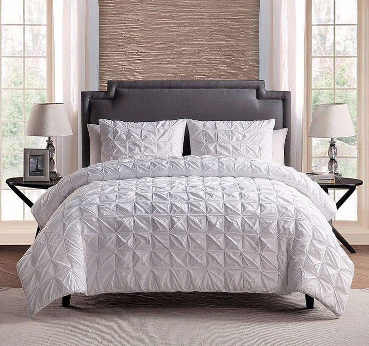 3 Piece 100 COTTON Solid WHITE Pinch Pleat Comforter Set