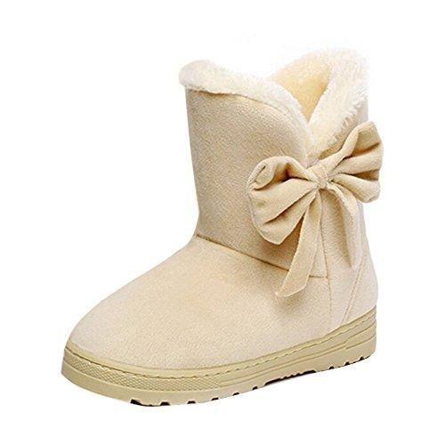 Oferta: 9.5€. Comprar Ofertas de Minetom Mujeres Otoño Invierno Botines Zapatos Calientes Moda Botas Con Bowknot Beige EU 37 barato. ¡Mira las ofertas!