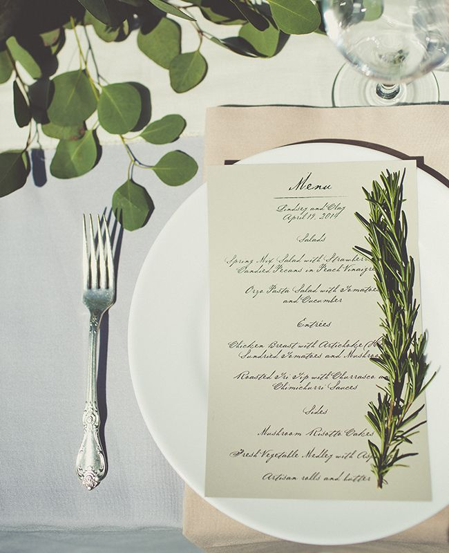 Simple herb place settings | Sarah Kathleen Photography | blog.theknot.com