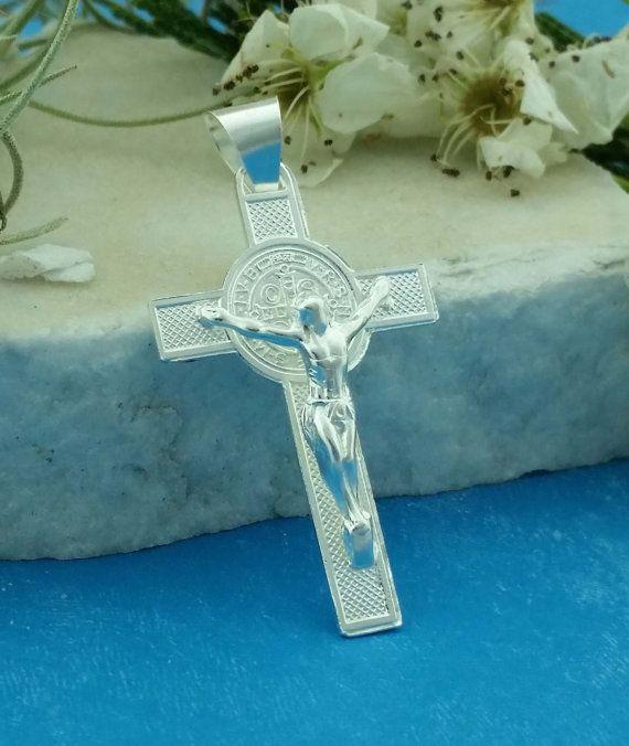 Silver St Benedict Crucifix St Benedict Cross Necklace. Saint