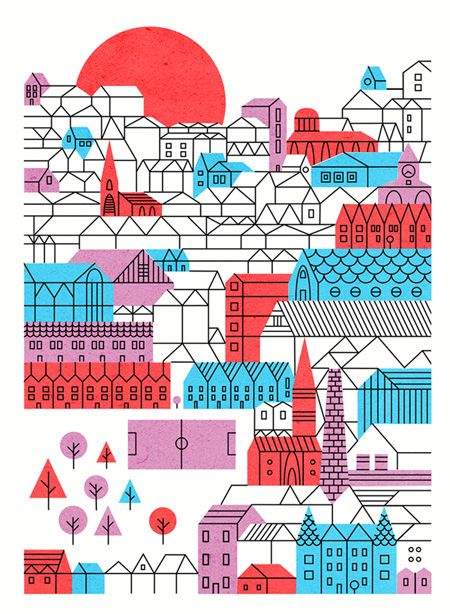 Illustrator Parko Polo does a wonderful job creating a vast visual landscape out of simplified forms and colors. I am really digging his work. You should check it out.