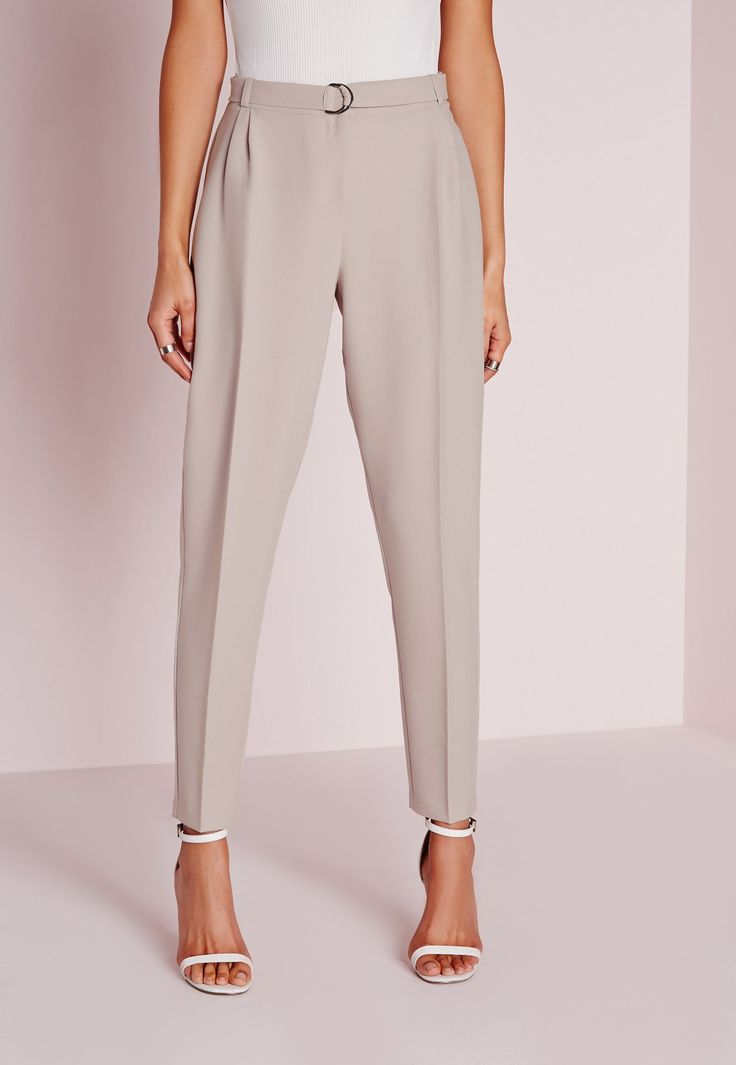 Missguided - Fabric Belt Cigarette Trousers Grey