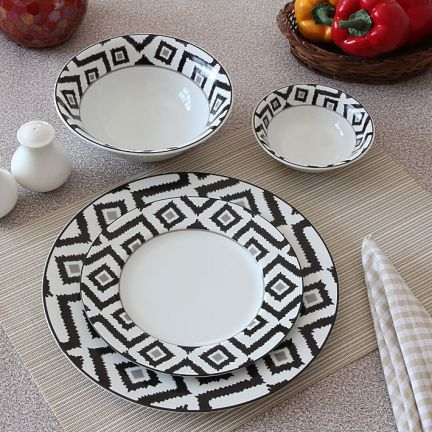 Vanras Ikat Georgian Black Dinner Set of Twenty Two Pieces - Make the party at your home memorable by serving delicious dishes in this 22-piece ... & 8 best crockery images on Pinterest | Dining sets Dinner sets and ...
