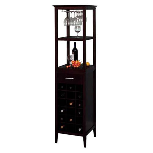 Espresso Eighteen Bottle Wine Tower Winsome Wood Wine Cabinets Wine Storage Kitchen & Dini
