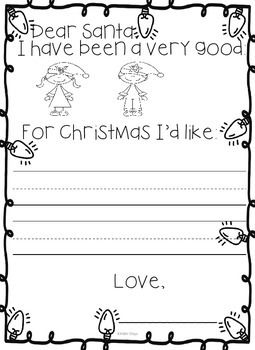 Festive Letter to Santa for Kinders! If you like this letter... You may also like December No PREP Kindergarten ELA Activity Packet DON'T FORGET TO LEAVE FEEDBACK!