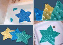 Színes csillag formájú, csúszásmentes fürdőszobaszőnyeg, tökéletes kádba és zuhanyzóba, tapadókoronggal