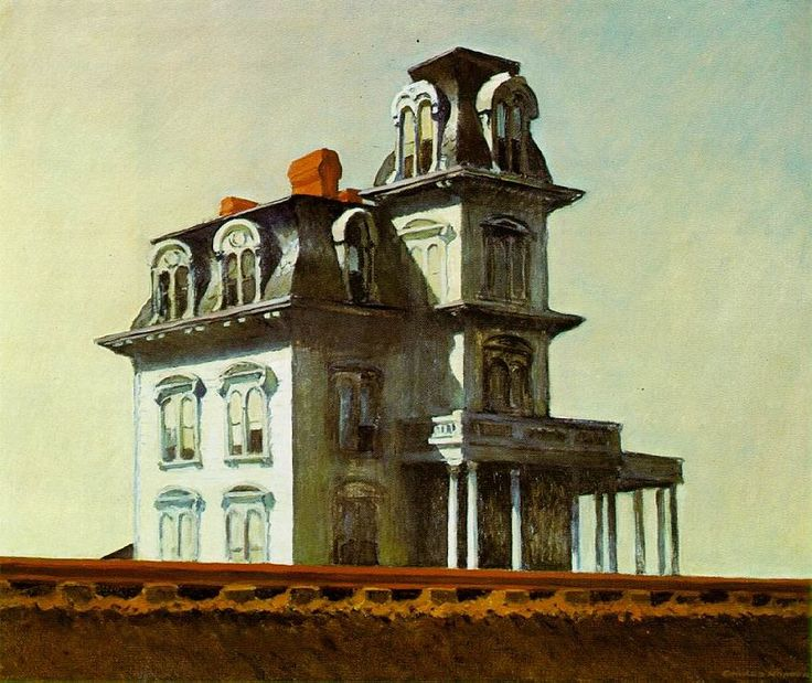 House by The Railroad, 1925 |  Edward Hopper  |  This image influenced Alfred Hitchcock and his ideas about the house in the movie Psycho