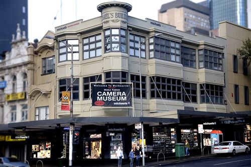 """michaels Camera Video Digital, Elizabeth street, Melbourne; professional lab services; C-41, E6, black all film sizes up to 8x10; multiple print media avail. including fine art paper ...and the can print """"photos from iphone""""."""