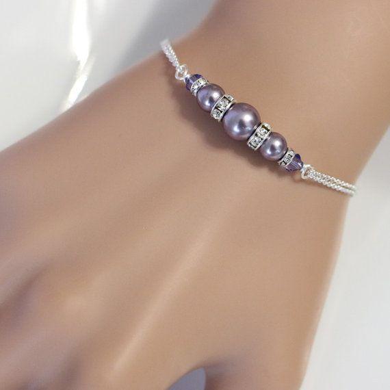 CUSTOM Bridesmaid Bracelet Swarovski Mauve by alexandreasjewels