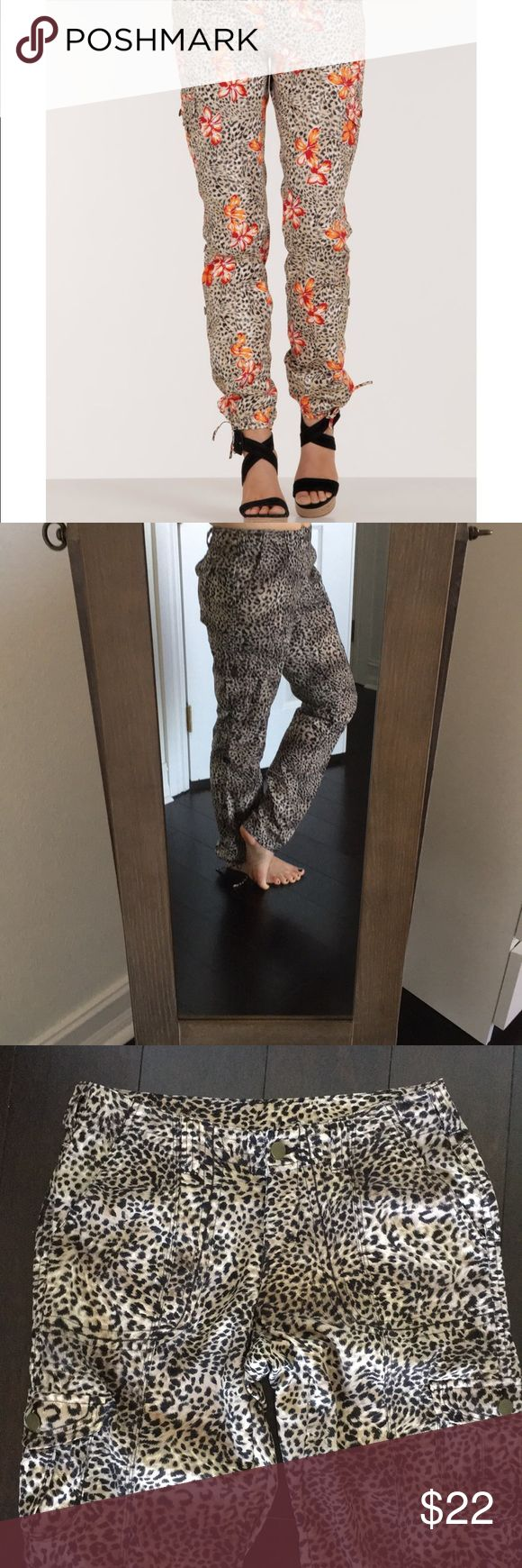 Boston Proper Leopard Cargo Pants First photo is stock. Pants for sale are a fabric with a silky feel in a leopard print. Perfect condition. Dress up with heels or add your favorite kicks for a casual chic look. Pair with the NWT Lucky Lotus Tee in my closet. Boston Proper Pants