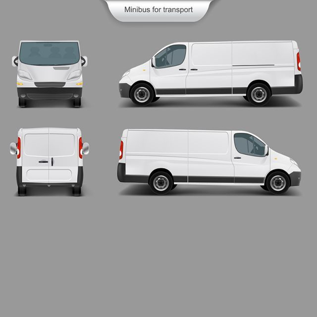 White Minivan Front Back Side Van Car Delivery Png And Vector