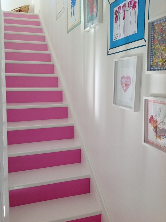 The stairs, graduated magenta. And fancy art on the wall.
