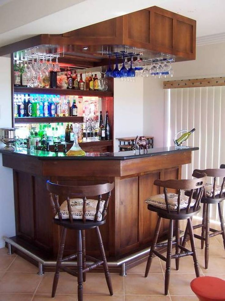 Mini bar for home with hanging wine glass rack and open - Mini bar in house ...