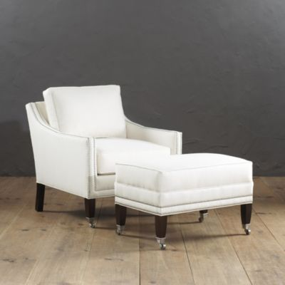 bedroom griffin club chair and ottoman with pewter nailheads