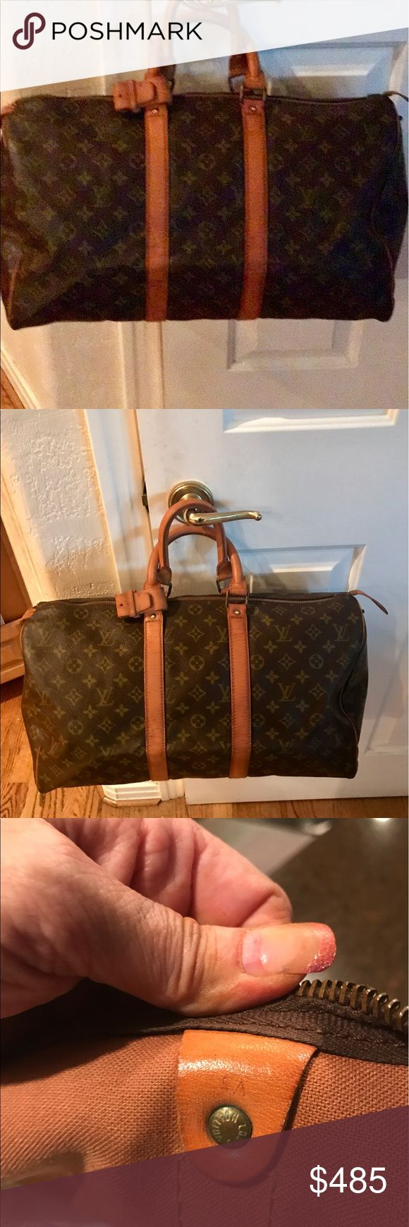 Beautiful Vintage Louis Vuitton Boston Keepall 45 Beautiful Vintage Louis Vuitton Boston Keepall 45 Inside is very clean.  Outside canvas is in good condition no rips or tears.  The vachetta  leather is in good with a few fold cracks and ridges from age.  Zipper works goid.  Great  travel bag from the luxury of Louis Vuitton Datecode SA rest is hard to read Louis Vuitton Bags Travel Bags