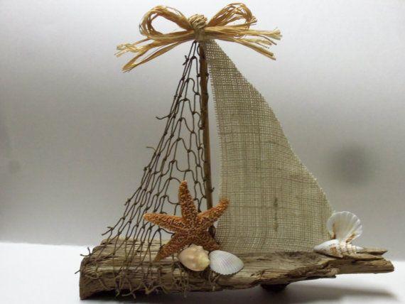 Grande barca a vela di Driftwood di ShabbySeasonsDecor su Etsy