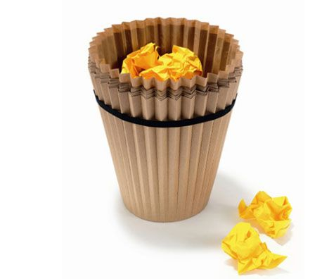 Waste paper #recycling made simple and stylish with Fabriano, a nifty bin made out of layered bags of recycled #paper.
