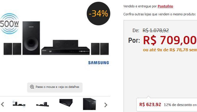 Home Theater Samsung HT-F4505/ZD 5.1 Canais Blu-ray 3D Rádio FM Entrada USB Cabo HDMI 500 W << R$ 62392 >>
