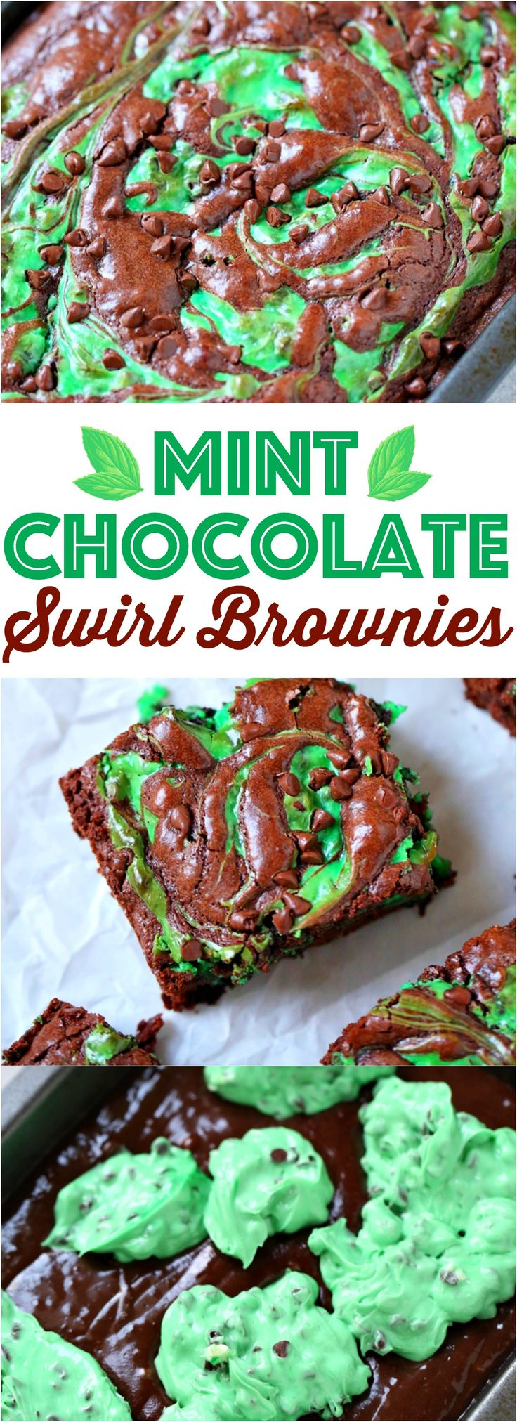 Mint Chocolate Chip Swirl Brownies recipe from The Country Cook - perfect for St. Patrick's Day!
