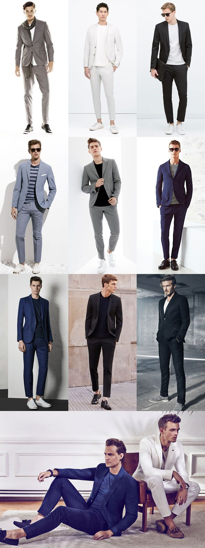Men's Suits and T-Shirts Combinations - Outfit Inspiration Lookbook