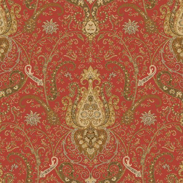 Waverly Byzance Red Damask. This amazing wallpaper is from the Waverly Classics collection by York Wallcoverings. A rich red background sets off the amazing pattern which is done in copper, deep chestnut brown, rich butter cream, light caramel and bits of gray-green.