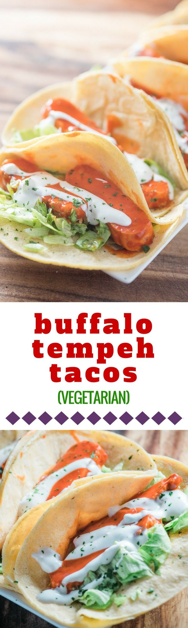These vegetarian bufufalo tempeh tacos are packed with protein and loaded with flavor from spicy buffalo sauce and tangy blue cheese. #deliciouseveryday #tempeh #tacos #tacotuesday