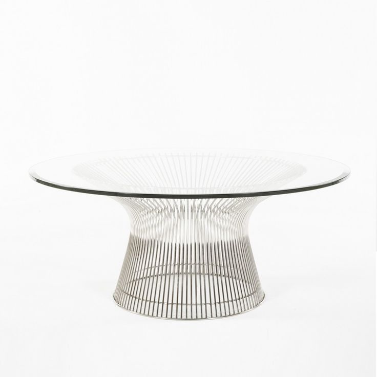 """Platner Coffee Table - This mid-century modern coffee table is crafted from stainless steel rods that are carefully welded together to form a perfectly symmetrical piece of art. Topped with a 0.5"""" thick tempered glass table top with beveled edges. Inspired by Warren Platners Coffee Table is an enduring icon of 60s Modernist design."""