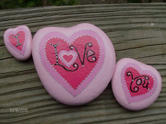Valentine's Day is just around the corner! I Love You on 3 Pink Stones with by MarciaStewartArt on Etsy
