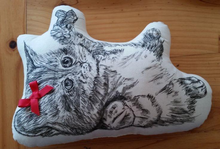 Playful Kitty - Hand-drawn cushion - Mummy Cuggles