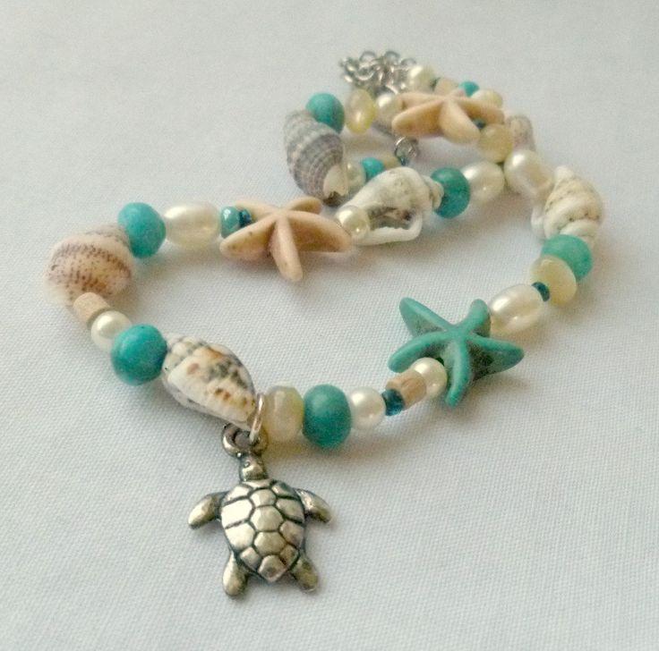 Sea Turtle Anklet Starfish Sea Shells. $18.00, via Etsy.