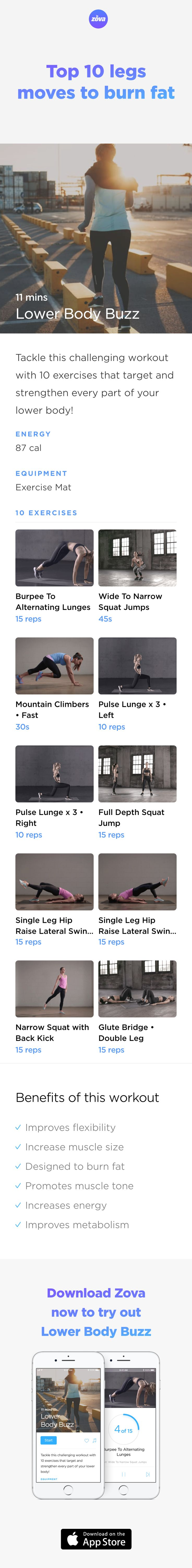 It's time to wear that mini skirt with confidence this summer! These quick and easy moves will help create a more athletic look for your legs in less than 10 minutes. The cardio boost will also increase your energy, motivation and self confidence. Bring on the hot weather! #legs #butt #workout #fitness #HIIT #fullbody #sweat #strength #bodyweight