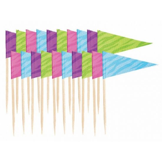 Vlaggetjes cocktailprikkers 20x. Set van 20 gekleurde cocktailprikkers met een vlaggetje. De cocktailprikkers zijn ongeveer 6,3 cm lang.