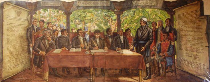 Mural sobre la Constitucion de Apatzingan de 1814, firmada por Jose Ma. Morelos y Pavón. Se encuentra en el antiguo Hotel Posada del Sol. Col. Doctores. Cd. de Mexico. Por Roberto Cueva del Río. Año de 1947