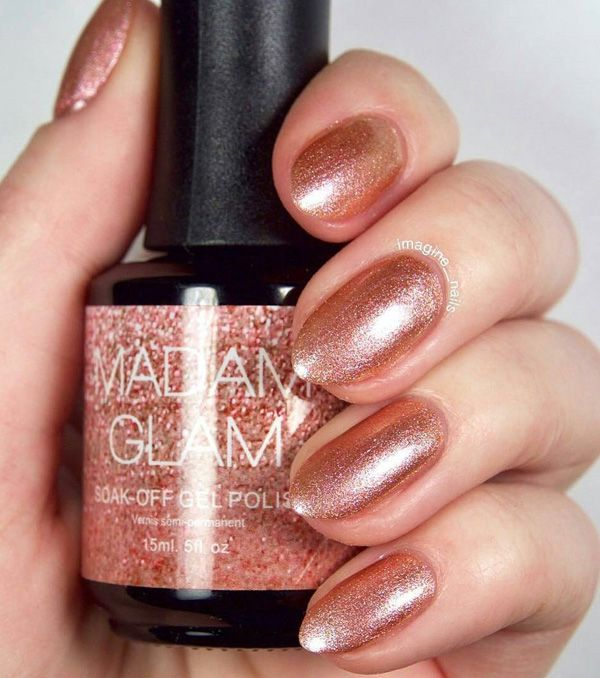 Another shade of color with diamond shine that is inconspicuous. The shape of the nail is good, nicely is standing on a long nail plate, and those who have a wide nail plate it visually narrows.