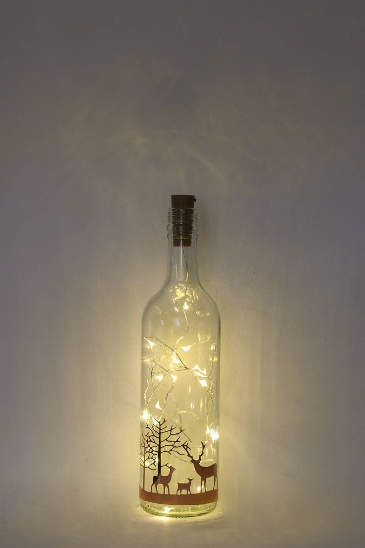 Christmas Lights, Bottle Lamp, Christmas Decorations, Stag Decor, Table Centrepiece, Rose Gold Christmas Decorations, Gold Decor, Deer Decor by Florabundins on Etsy https://www.etsy.com/listing/546240156/christmas-lights-bottle-lamp-christmas