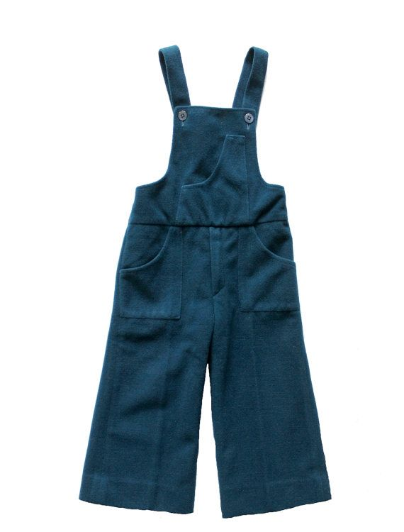 FRENCH vintage 70's / for kids / dungarees / overalls / petroleum blue - green colour / velvet / size 18 months