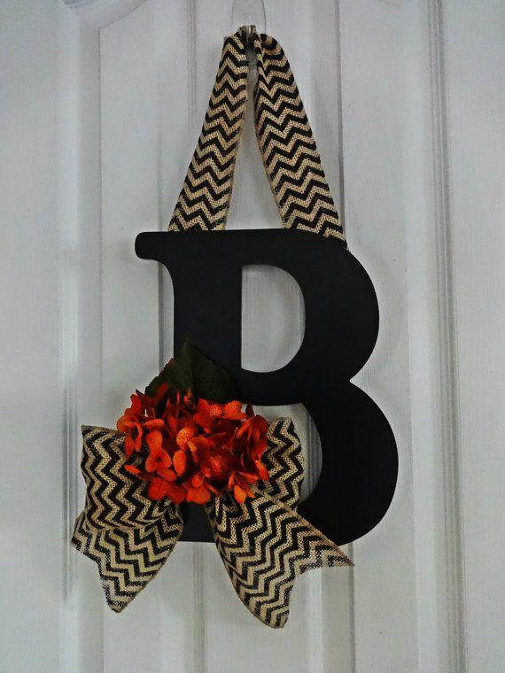 Fall Black Chevron Burlap and Orange Hydrangea Wreath, Hydrangea Monogram Wreath, Chevron Wreath, Front Door Letter, Burlap Letter Wreath
