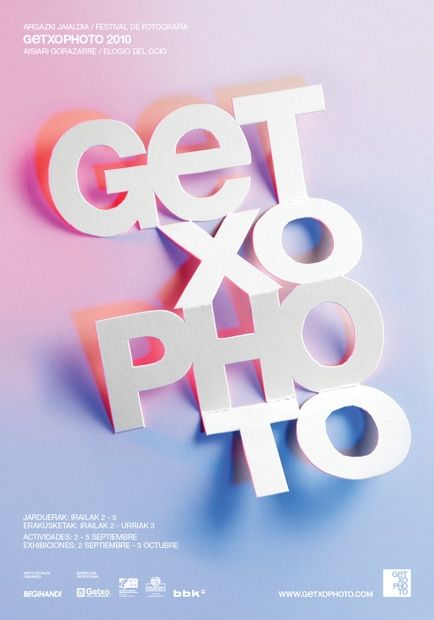 Luechtefeld - Type Based Design - Poster for GETXOPHOTO photography festival by IS Creative Studio. Kickass colors and papercut type.